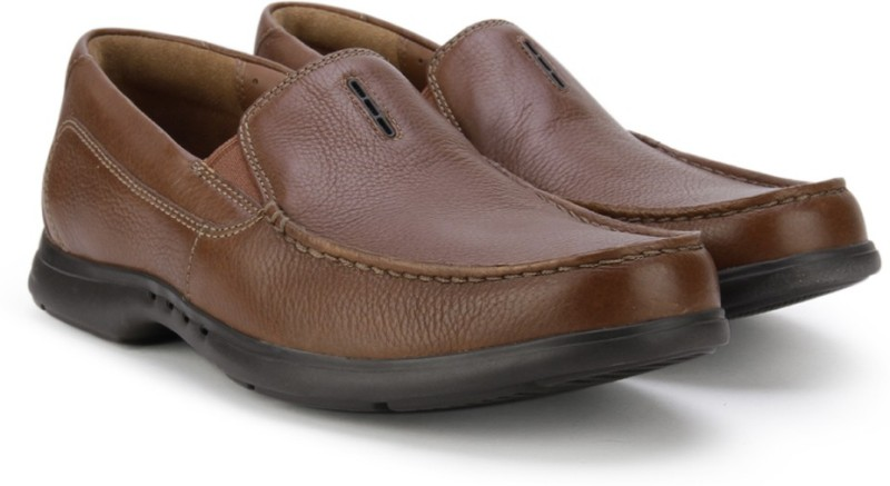 Clarks Uneasley Twin Tan Leather Loafers For Men(Brown)