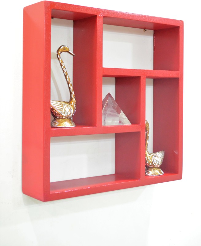 Devarth Interio MDF Wall Shelf(Number of Shelves - 5, Red)
