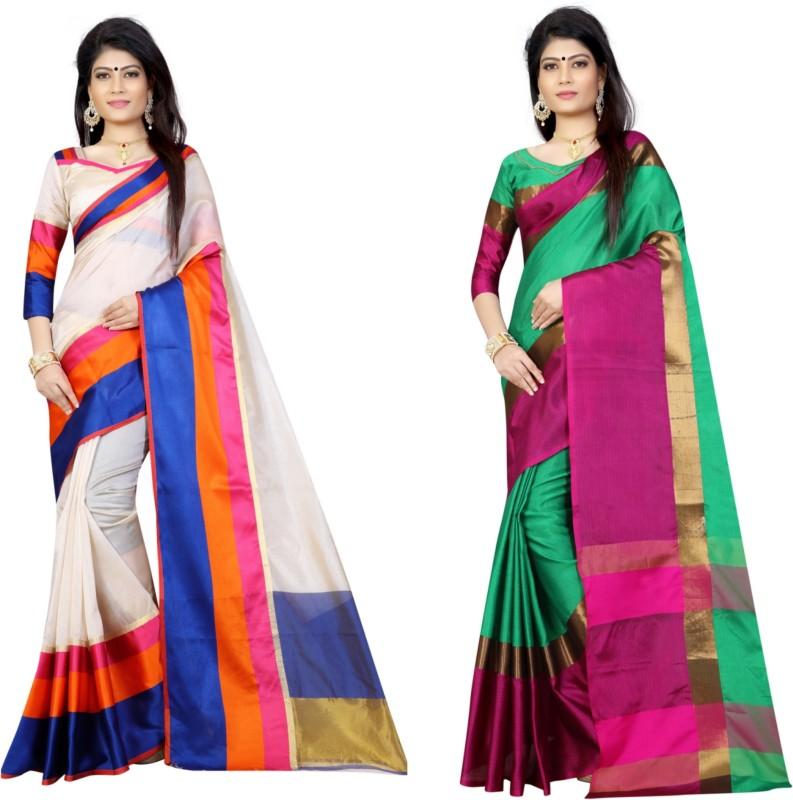 Pari Designer Self Design Fashion Cotton, Silk Saree(Pack of 2, Multicolor)