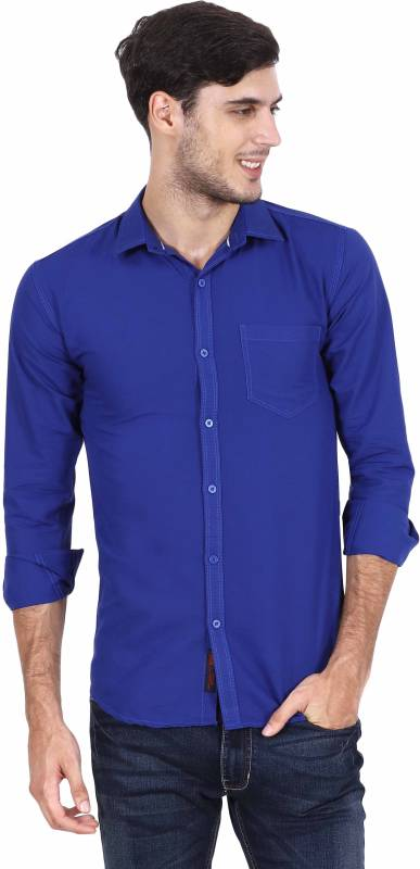 Rope Men Solid Casual Blue Shirt
