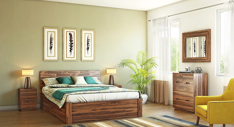 Urban Ladder Zephyr Solid Wood Free Standing Chest of Drawers(Finish Color - Teak)