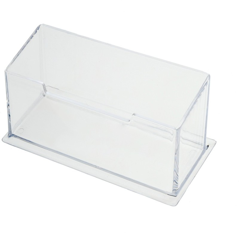 Kebica 1 Compartments Plastic Desktop Business Card Stand (Set of 3)(Transparent)