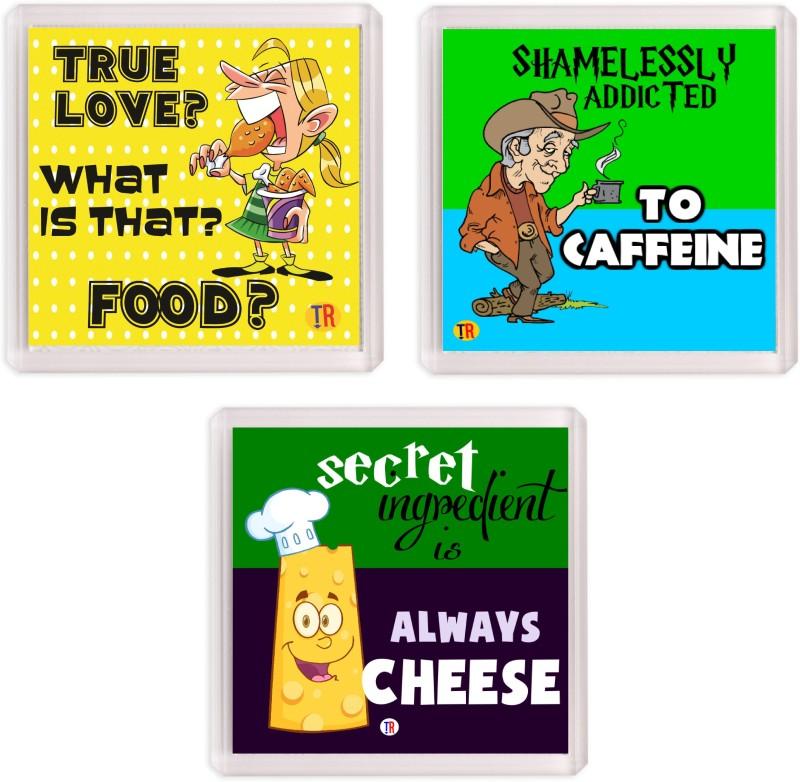 Thoughtroad FOOD CAFFEINE SECRET 01 Fridge Magnet(Pack of 3)