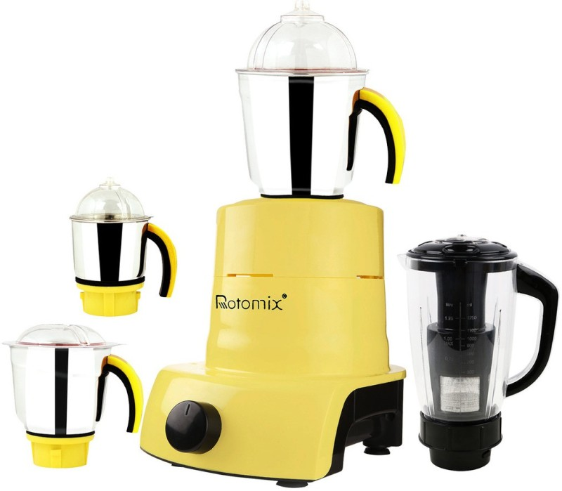 Rotomix ABS Plastic Body Brand Outlet model_MA_410 ABS Plastic YPMA17_410 600 W Juicer Mixer Grinder(Yellow, 4 Jars)