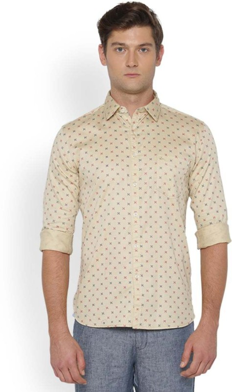 Parx Mens Printed Formal Beige Shirt
