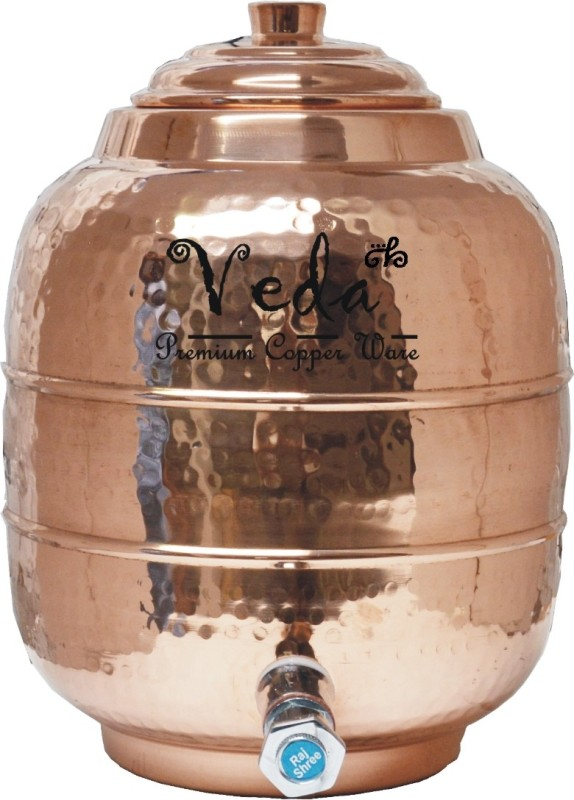 Veda Home & Lifestyle VEDA (10 X 10 X 12 inch) COPPER HAMMERED 8 LITRE WATER TANK WTC101 8 L Drum(Copper, Pack of 1)