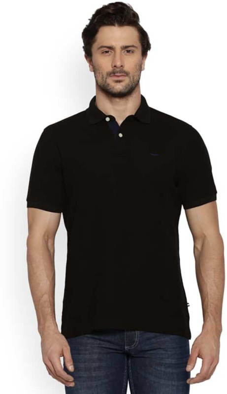 Park Avenue Solid Mens Polo Neck Black T-Shirt