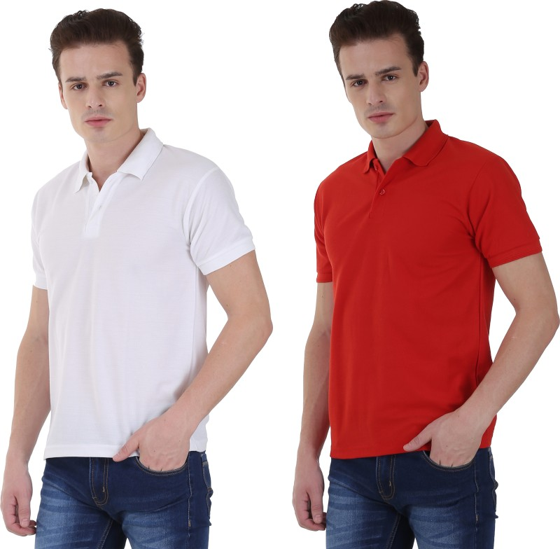 NCY Solid Men Polo Neck Red, White T-Shirt(Pack of 2)
