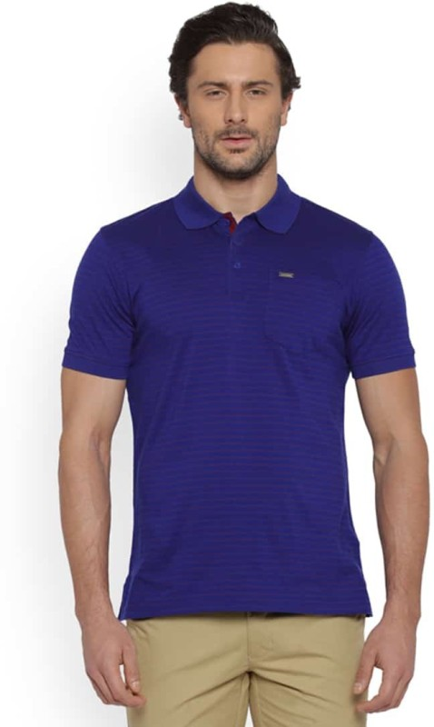 Park Avenue Solid Mens Round Neck Blue T-Shirt