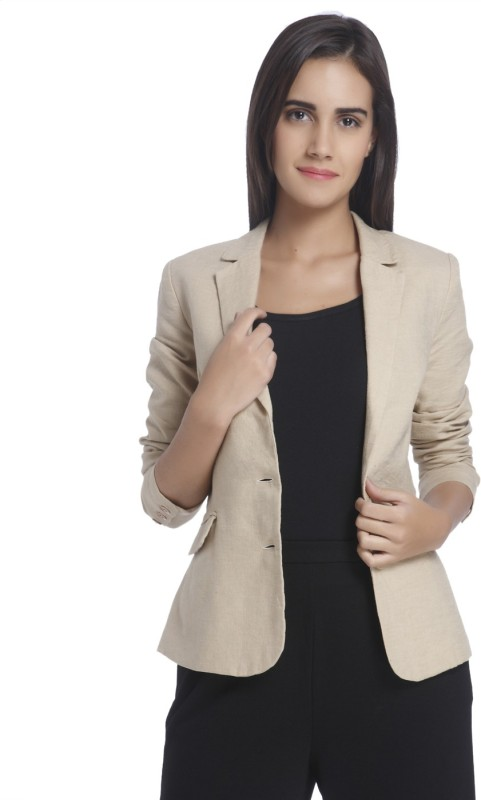 Vero Moda Solid Single Breasted Casual Women Blazer(Beige)