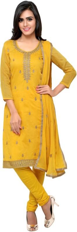 Saara Chanderi Floral Print, Paisley, Embroidered Salwar Suit Dupatta Material(Un-stitched)