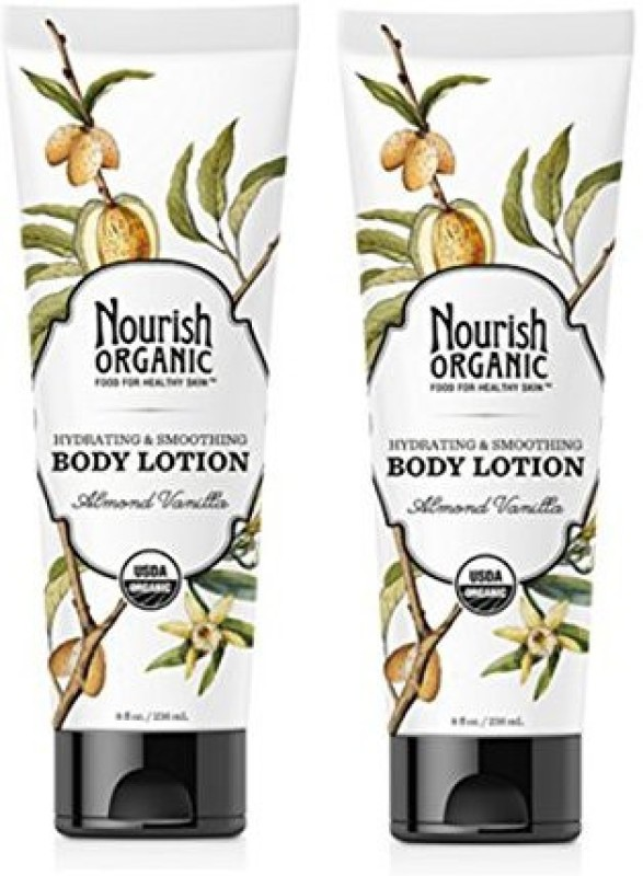 Nourish Organic Hydrating And Smoothing Almond Vanilla Body Lotion With Aloe Vera, Shea Butter And Acai, pack Of 2(236 ml)