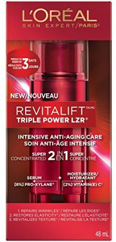 L'Oreal Skin Care Revitalift Triple Power Intensive Skin Revitalizer Serum + Moisturizer(48 ml)