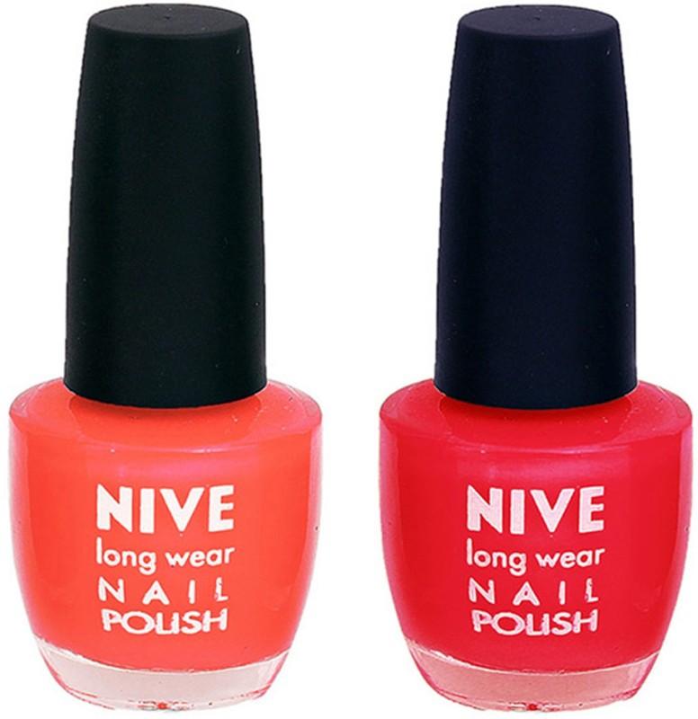 Nive Colour Blast Nail Polish 13102397 Orange,Red(24 ml, Pack of 2)