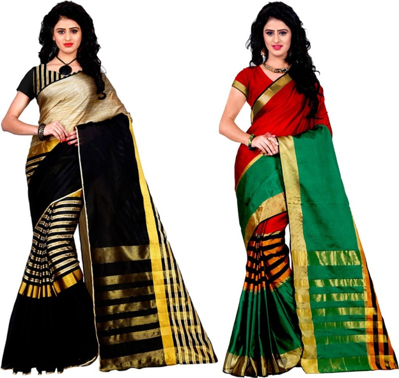 Trendz Style Printed, Striped Fashion Cotton Linen Blend, Tussar Silk Saree(Pack of...