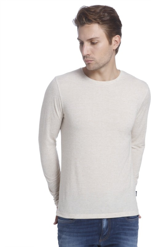 Jack & Jones Solid Mens Round Neck Beige T-Shirt