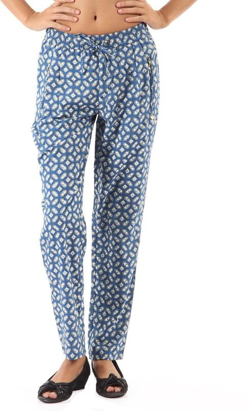 Pepe Jeans Printed Women Blue Track Pants