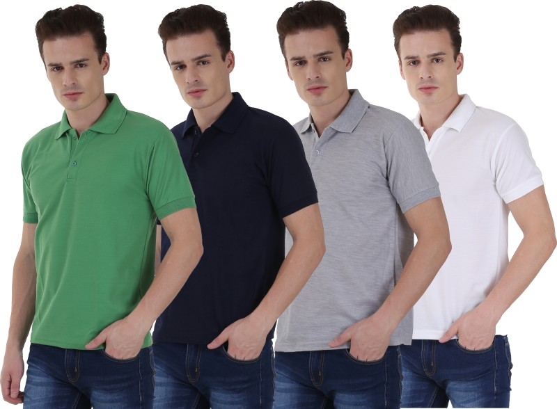NCY Solid Men Polo Neck Dark Blue, White, Green, Grey T-Shirt(Pack of 4)