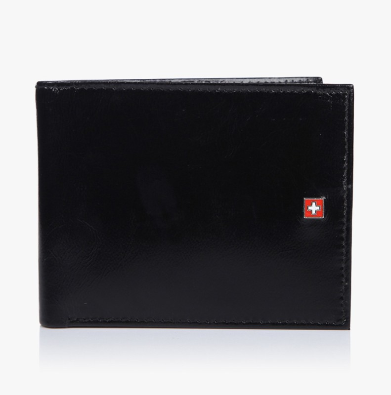 Swiss Military Men Black Genuine Leather Wallet(4 Card Slots)