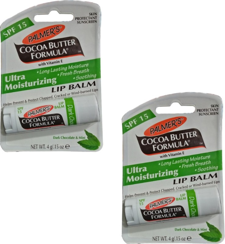 Palmer's Dark Chocolate and Mint Lip Balm Pack of 2 Mint(Pack of: 2, 8 gm)