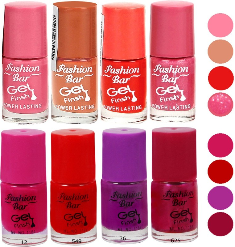 Fashion Bar Neon Combo 8 in 4 Multicolor,(40 ml, Pack of 8)