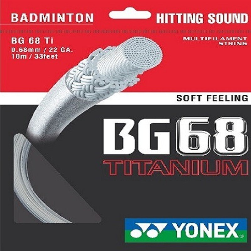 Yonex BG 68 Titanium 0.68 Badminton String - 10 m(White)