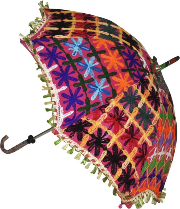 Lal Haveli Jaipuri Embroidery Work Single Fold Designer Umbrella(Pink)