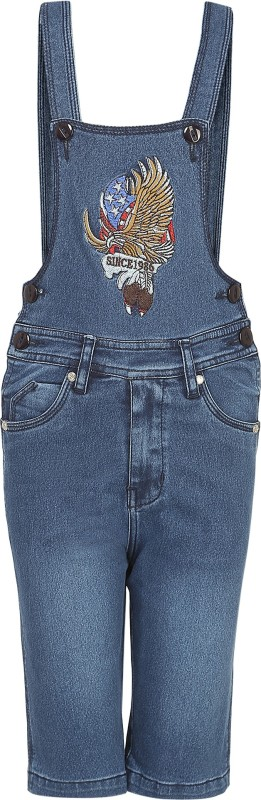 FirstClap Dungaree For Boys Casual Solid Denim(Dark Blue, Pack of 1)