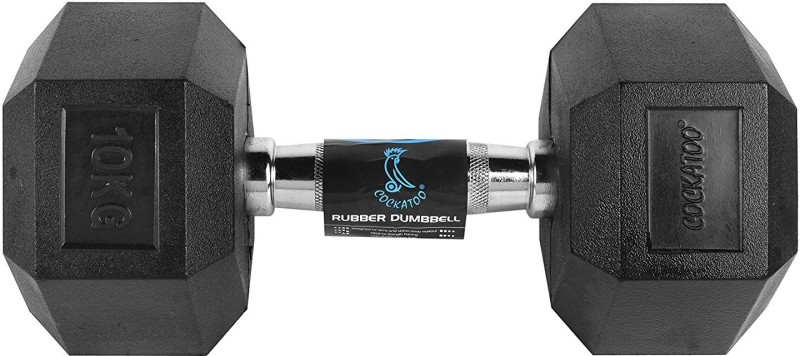 Cockatoo Rubber coated Professional Hex dumbbells Fixed Weight Dumbbell(10 kg)