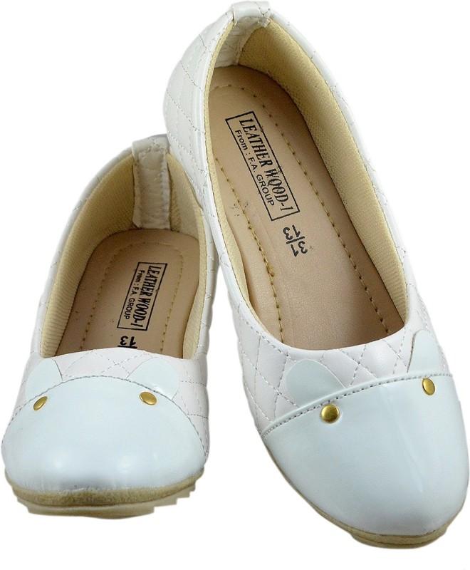 Leatherwood1 Girls Slip on Ballerinas(White)
