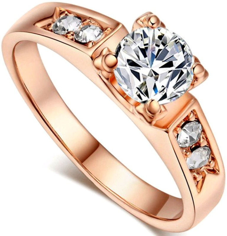 Kundaan Luxury Designer SOLITAIRE RING Valentine Gift for GIRLS and WOMEN Alloy Zircon, Crystal Gold Plated Ring