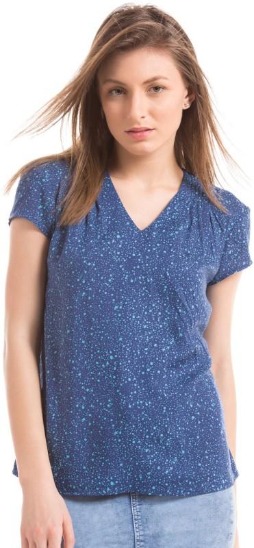 Arrow Woman Casual Half Sleeve Printed Women Blue Top