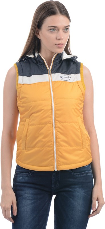 Pepe Jeans Sleeveless Solid Women Jacket