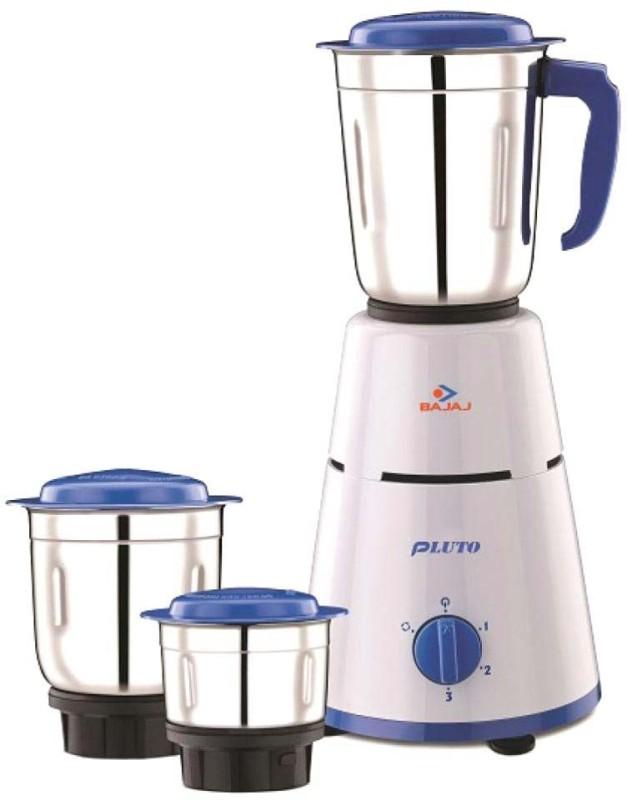 Bajaj 3 Jar Pluto 500 W Mixer Grinder(White, Blue, 3 Jars)