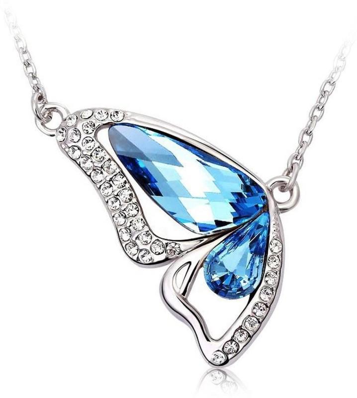 Yellow Chimes Designer Butterfly Blue Austrian Cyrstal For Women & Girls Rhodium...