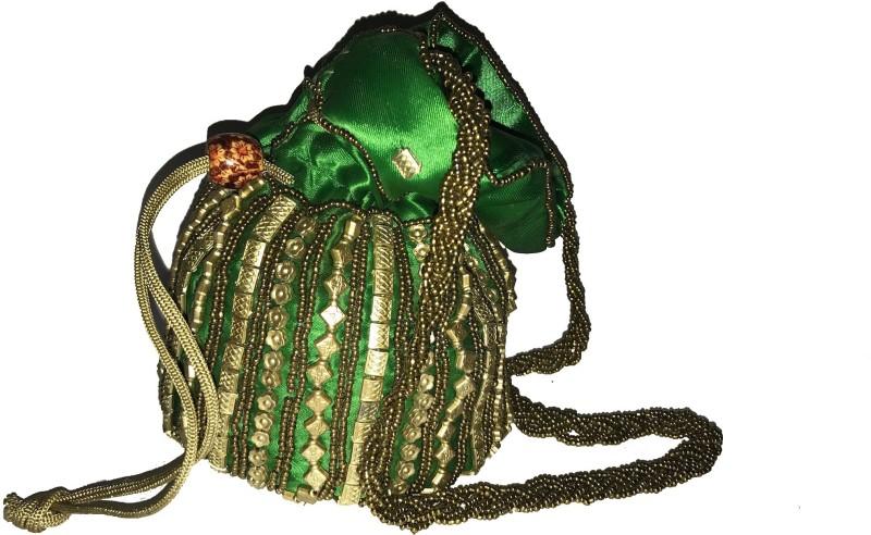 AADAYAE Aadayae's Green Colored Potli Pouch Potli(Green)