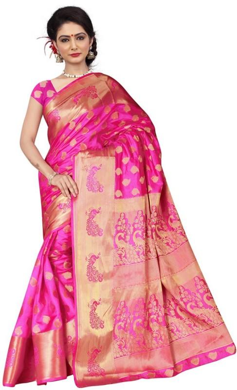 Saara Self Design, Graphic Print Banarasi Silk Saree(Pink, Gold)