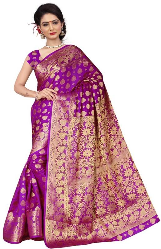 Saara Self Design, Graphic Print Banarasi Silk Saree(Purple, Gold)