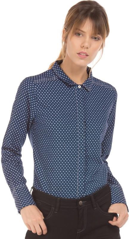 Arrow Woman Women Printed Casual Blue Shirt