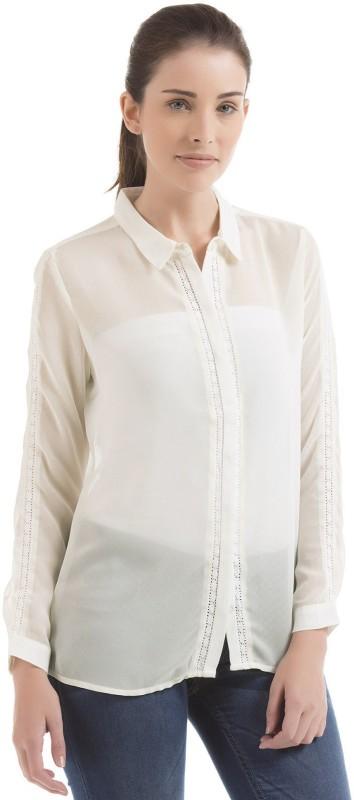 Arrow Woman Women Solid Casual White Shirt
