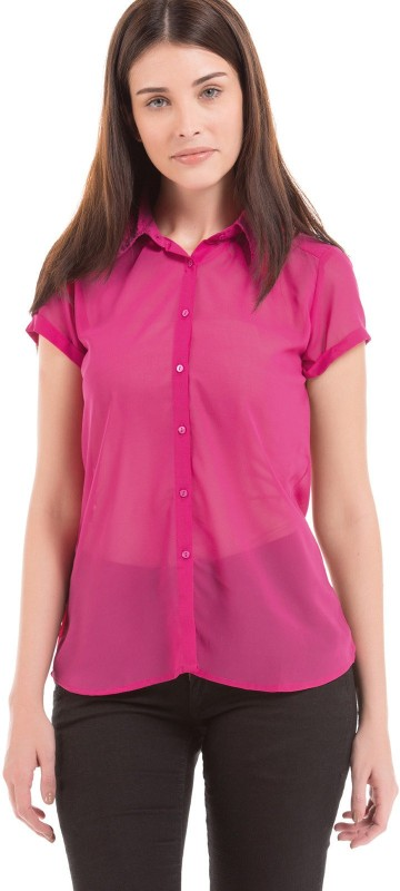 Arrow Woman Women Solid Casual Pink Shirt