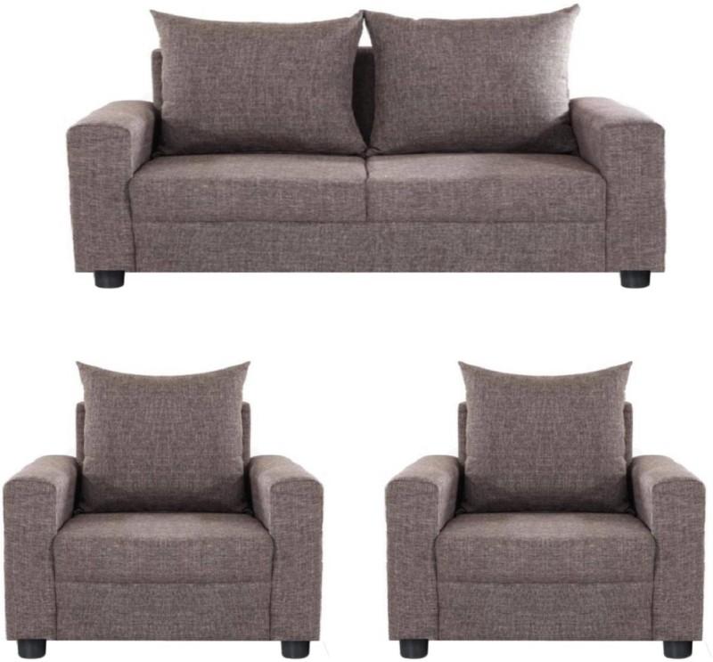 GIOTEAK Fabric 2 + 1 + 1 Brown Sofa Set
