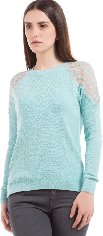 Arrow Woman Casual Full Sleeve Solid Women Blue Top