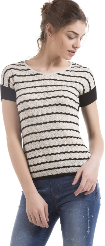 Arrow Woman Casual Half Sleeve Striped Women Black Top