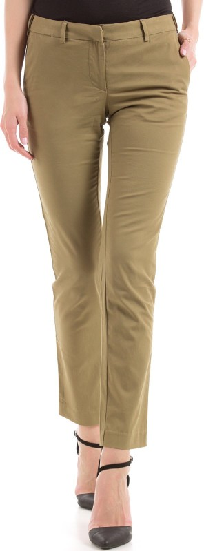 Arrow Woman Slim Fit Women Beige Trousers