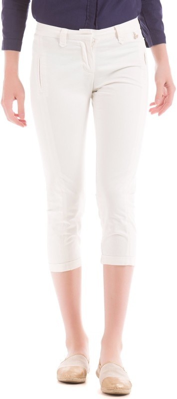 Arrow Woman Slim Fit Women White Trousers