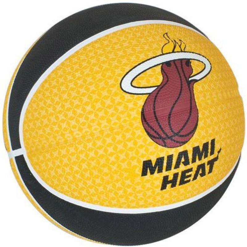 SPALDING Miami Heat Basketball - Size 7 Basketball - Size: 7(Pack of 1, Yellow, Black & White)