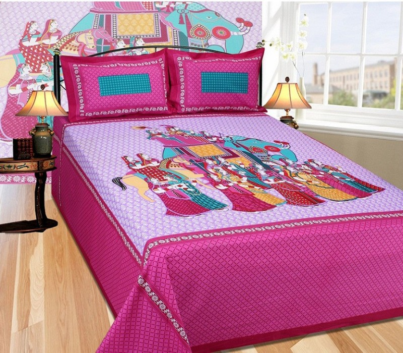The Intellect Bazaar 200 TC Cotton Double King Printed Bedsheet(1 King Size Elastic Fitted Bedsheet with 2 Pillow Covers, Dark Pink)