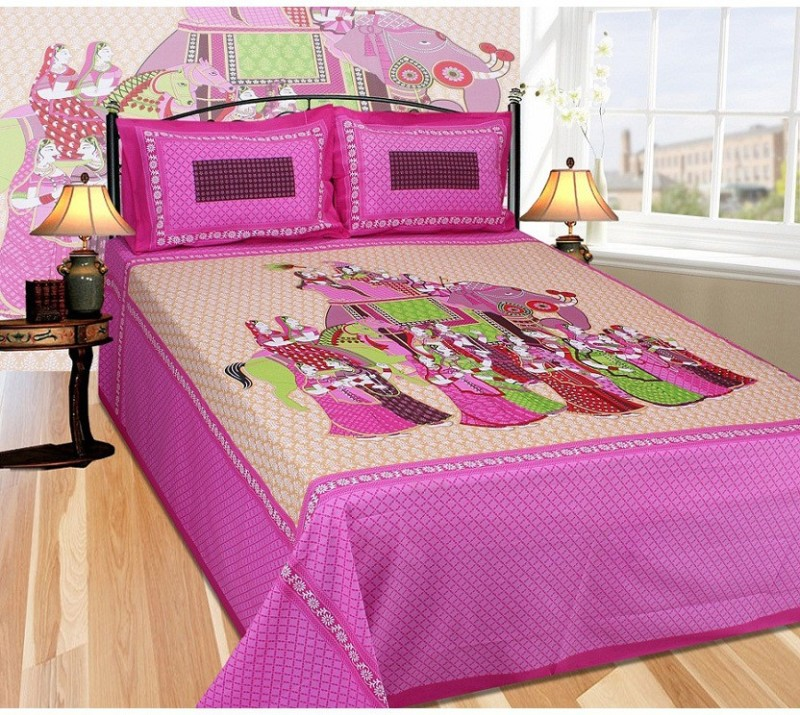 The Intellect Bazaar 200 TC Cotton Double King Printed Bedsheet(1 King Size Elastic Fitted Bedsheet with 2 Pillow Covers, Pink and Brown)