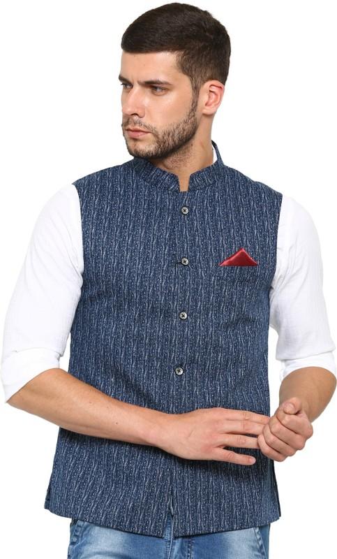 Showoff Sleeveless Self Design Men Jacket